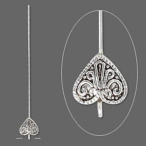 headpin, antique silver-plated pewter (tin-based alloy) and brass, 3 to 3-1/2 inches with 14x13mm heart with loop, 18 gauge. sold per pkg of 4.