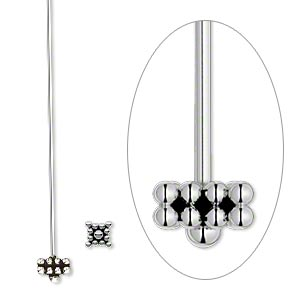 headpin, antiqued sterling silver, 2 inches with 5-6mm square, 21 gauge. sold per pkg of 2.