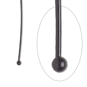 headpin, electro-coated brass, black, 1-1/2 inches with 2mm ball, 21 gauge. sold per pkg of 10.