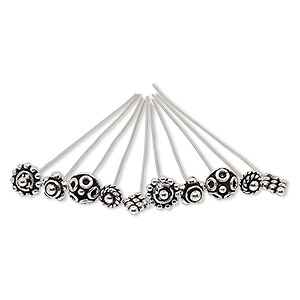headpin mix, antiqued sterling silver, 2 inches with assorted shape, 22 gauge. sold per pkg of 10.