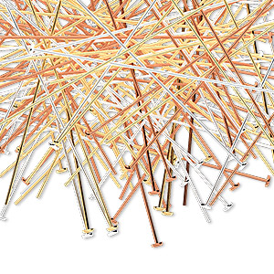 headpin mix, copper / gold- / silver-plated brass, 2 inches, 24 gauge. sold per pkg of 144 (1 gross).