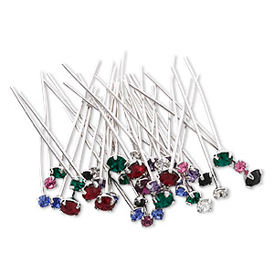 headpin mix, swarovski crystals with silver- and rhodium-plated brass, mixed colors, 1-1/2 inches with pp18 / pp24 / pp32, 21-23 gauge. sold per pkg of 144 (1 gross).