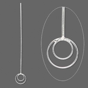 headpin, sterling silver, 2-1/4 inches with 8.5mm double loop, 20 gauge. sold per pkg of 4.