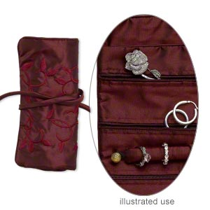 jewelry pouch, rayon / nylon / plastic, burgundy and multicolored, 9x6-1/2 inch roll with embroidered leaves design, tie closure. sold individually.