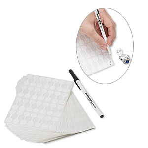 jewelry tag, shark-skin, mylar, white, 1/2 inch round, 1-1/4 inches overall, marking pen included. sold per pkg of 1,000.