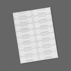 jewelry tag, shark-skin, mylar, white, 9/16 inch round, 1-15/16 inches unfolded. sold per pkg of 500.