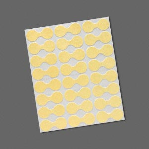 jewelry tag, shark-skin, mylar, yellow, 9/16 inch round, 1-7/16 inches unfolded. sold per pkg of 1,000.