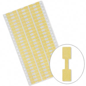 jewelry tag, shark-skin, mylar, yellow, 9/16 x 7/16 inch rectangle, 1-3/4 inches unfolded. sold per pkg of 500.