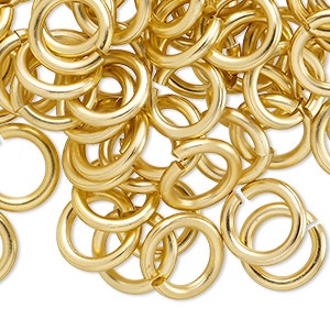 jumpring, anodized aluminum, gold, 12mm round, 7.9mm inside diameter, 12 gauge. sold per pkg of 100.