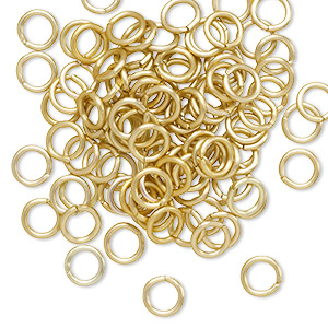 jumpring, anodized aluminum, gold, 5.5mm matte round, 3.5mm inside diameter, 18 gauge. sold per pkg of 100.