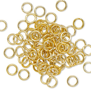 jumpring, anodized aluminum, gold, 5.5mm round, 3.5mm inside diameter, 18 gauge. sold per pkg of 100.