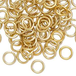 jumpring, anodized aluminum, gold, 8mm matte round, 5.4mm inside diameter, 16 gauge. sold per pkg of 100.
