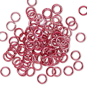 jumpring, anodized aluminum, red, 5mm round, 3.4mm inside diameter, 20 gauge. sold per pkg of 100.