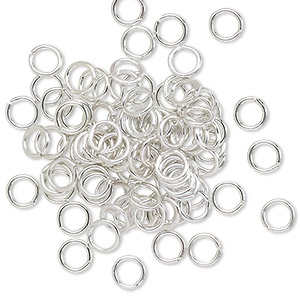 jumpring, anodized aluminum, silver, 5mm round, 3.4mm inside diameter, 20 gauge. sold per pkg of 100.