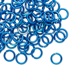 jumpring, anodized tempered aluminum, light blue, 8mm round, 5.6mm inside diameter, 17 gauge. sold per pkg of 100.