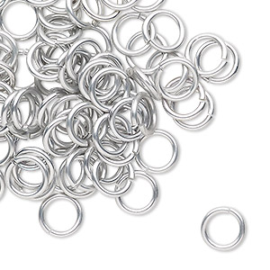 jumpring, anodized tempered aluminum, silver, 8mm round, 5.6mm inside diameter, 17 gauge. sold per pkg of 100.