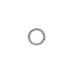 jumpring, antique silver-plated brass, 10mm twisted round, 8mm inside diameter, 16 gauge. sold per pkg of 100.