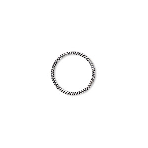 jumpring, antique sterling silver, 14mm soldered twisted round, 12.2mm inside diameter, 18 gauge. sold per pkg of 2.