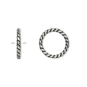 jumpring, antiqued stainless steel, 15.5mm soldered twisted round, 11.5mm inside diameter, 12 gauge. sold per pkg of 10.