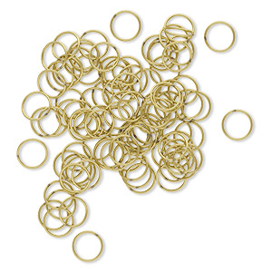 jumpring, brass, 10mm soldered round, 8.4mm inside diameter, 20 gauge. sold per pkg of 100.