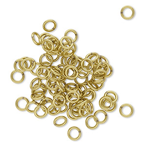 jumpring, brass, 4.5mm soldered round, 2.9mm inside diameter, 20 gauge. sold per pkg of 100.