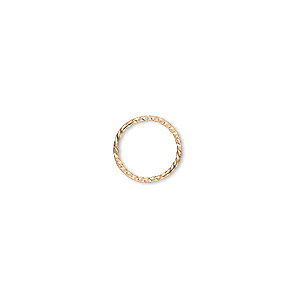 jumpring, gold-plated brass, 10mm twisted round, 8.4mm inside diameter, 21 gauge. sold per pkg of 100.