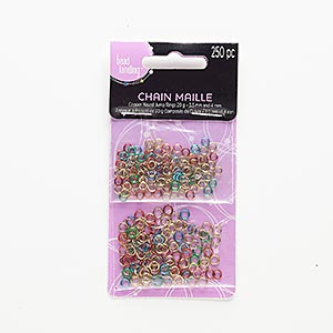 jumpring mix, copper, mixed colors, 3.5-4mm round, 2-3mm inside diameter, 22 gauge. sold per pkg of 250.