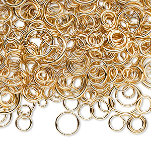 jumpring mix, gold-plated brass, 3-12mm round, 1.3-10.4mm inside diameter, 18-22 gauge. sold per 3-ounce pkg, approximately 1,400-1,500 jumprings.