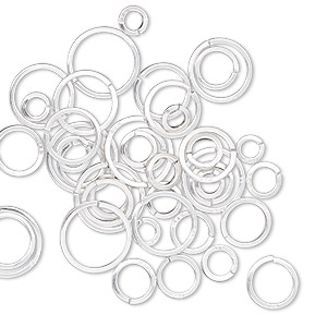 jumpring mix, sterling silver, 4-10mm round square wire, 2.4mm-8.2mm inside diameter, 20 gauge. sold per 5-gram  pkg, approximately 40 jumprings.