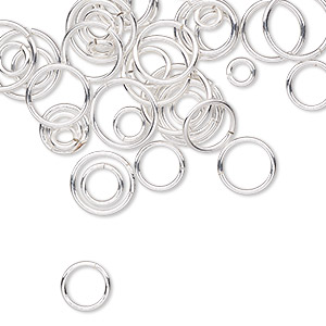 jumpring mix, sterling silver-filled, 4-10mm round, 2-8mm inside diameter, 18-22 gauge. sold per 5-gram pkg, approximately 40-50 jumprings.