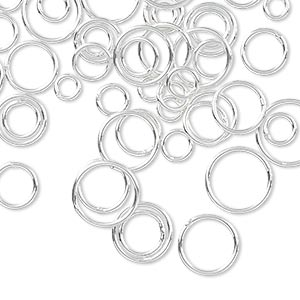 jumpring mix, sterling silver-filled, 4-10mm soldered round, 3.3-8.4mm inside diameter, 20 gauge. sold per 50-gram pkg, approximately 520-550 jumprings.