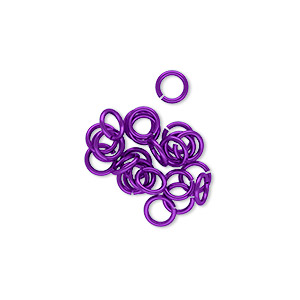 jumpring, niobium, purple, 5mm round, 3.4mm inside diameter, 20 gauge. sold per pkg of 25.