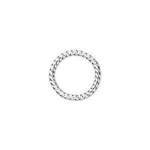 jumpring, silver-plated brass, 15mm twisted round, 11.8mm inside diameter, 14 gauge. sold per pkg of 100.