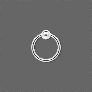 jumpring, sterling silver, 14x1.4mm round with 4mm ball, 10.8mm inside diameter, 15 gauge. sold per pkg of 2.