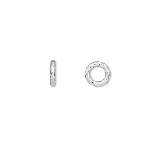 jumpring, sterling silver, 8mm textured soldered round, 4.8mm inside diameter, 15 gauge. sold per pkg of 10.