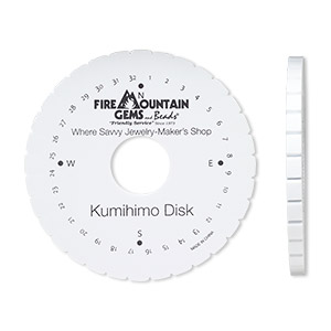 kumihimo disk, eva foam, white and black, 6-inch round with 1-1/2 inch inside hole and 32 slots. sold individually.