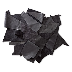 leather scrap mix (dyed), black tones, mixed shape. sold per 1/2 pound pkg.