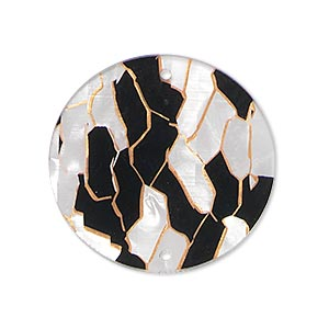 link, acrylic, white / black / copper, 28mm double-sided flat round with lines. sold per pkg of 10.