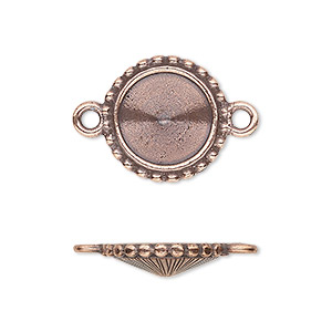 link, almost instant jewelry and tierracast, antique copper-plated pewter (tin-based alloy), 17mm round with beaded edge and 12mm rivoli setting. sold individually.