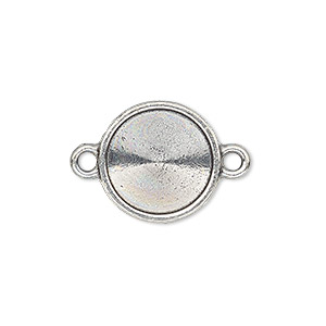 link, almost instant jewelry and tierracast, antiqued pewter (tin-based alloy), 16.5mm round with 14mm rivoli setting. sold individually.