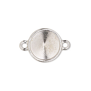 link, almost instant jewelry and tierracast, rhodium-plated pewter (tin-based alloy), 17mm round with 14mm rivoli setting. sold individually.
