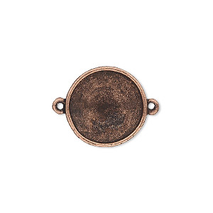 link, almost instant jewelry, antique copper-plated pewter (tin-based alloy), 18mm round with 16mm rivoli setting. sold individually.