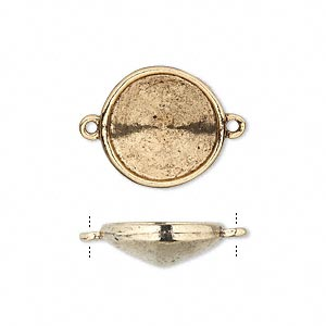link, almost instant jewelry, antique gold-plated pewter (tin-based alloy), 17mm round with 14mm rivoli setting. sold per pkg of 2.