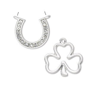 link and charm, enamel / glass rhinestone / silver-finished pewter (zinc-based alloy), clear, (2) 20x19mm single-sided horseshoe and (2) 25x22mm double-sided open 3-leaf clover. sold per pkg of 4.