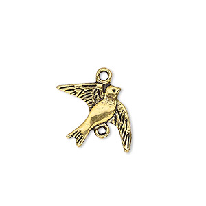 link, antique gold-finished pewter (zinc-based alloy), 21x16mm double-sided dove. sold per pkg of 10.