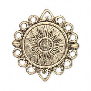 link, antique gold-finished pewter (zinc-based alloy), 23mm single-sided flat round with sun design and 12 loops. sold per pkg of 2.