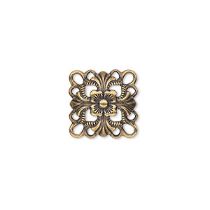 link, antique gold-plated steel, 14x14mm single-sided domed square. sold per pkg of 24.