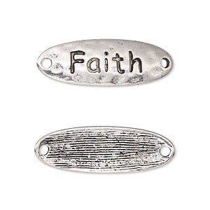 link, antique silver-finished pewter (zinc-based alloy), 29.5x10mm single-sided curved hammered flat oval with faith. sold per pkg of 2.