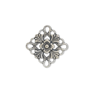 link, antique silver-plated brass, 20x20mm single-sided diamond. sold per pkg of 48.