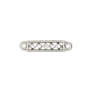 link, antiqued pewter (tin-based alloy), 18x5mm rectangle. sold per pkg of 4.